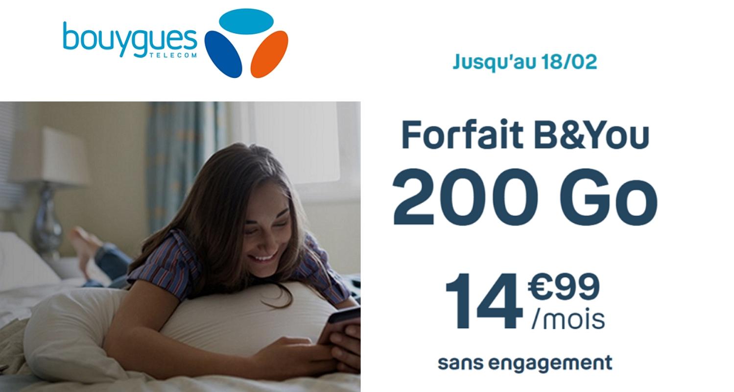 Forfait en promo : l'offre Bouygues mobile 200 Go à 14,99€/mois