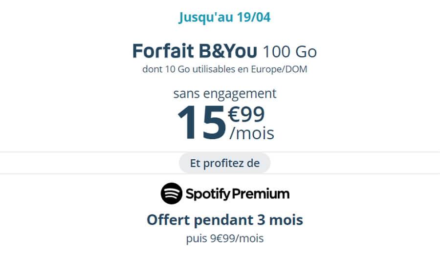 Le forfait Bouygues en promotion en avril 2020 : 15,99 euros par mois pour 100 Go