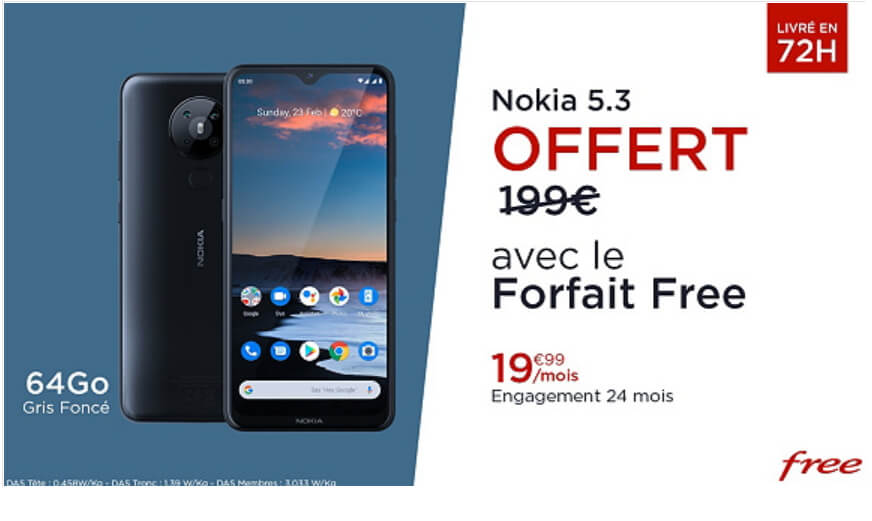 Téléphone Nokia 5.3 offert avec le forfait Free sur Veepee