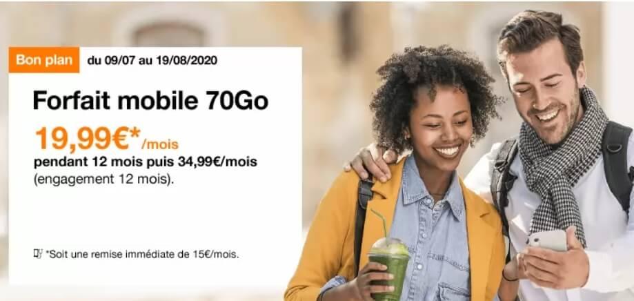 Le forfait Orange 70 Go à 19,99 euros par mois