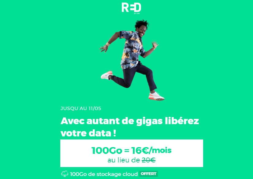 Le forfait 100Go de RED en promotion jusqu'au 11 mai 2020 à 16€/mois