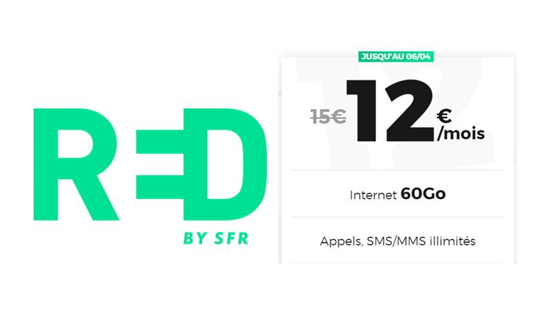 Forfait RED 60 Go en promotion à 12 euros par mois en avril 2020