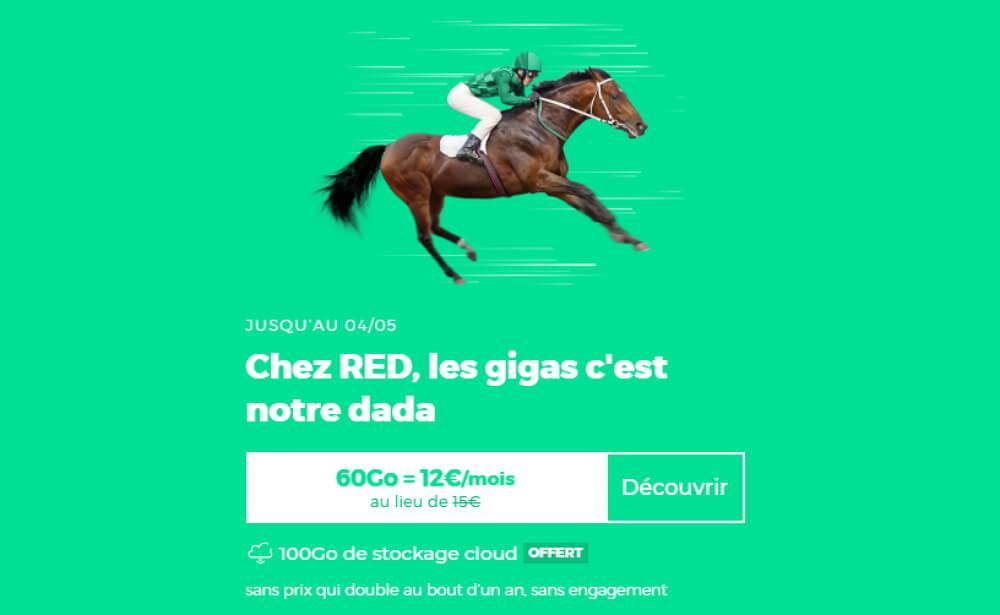 Un jockey à cheval pour illustrer le forfait en promotion RED 60 Go jusqu'au 4 mai 2020