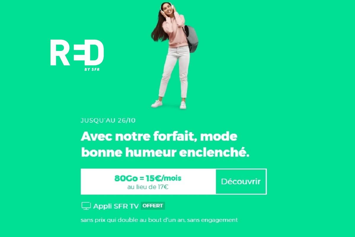 Le forfait mobile RED avec 80 Go de data passe de 14 à 15€/mois.