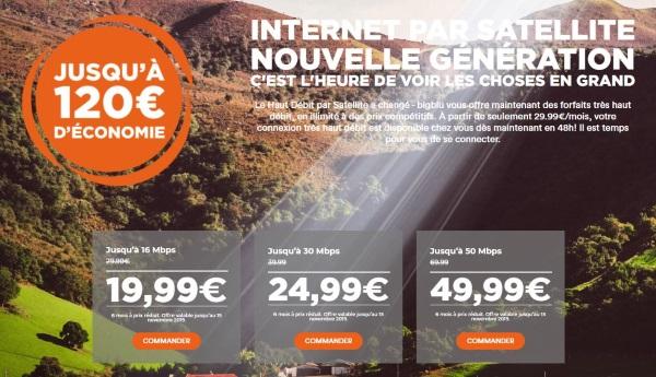 Offre internet satellite bigblu en promotion en octobre 2019