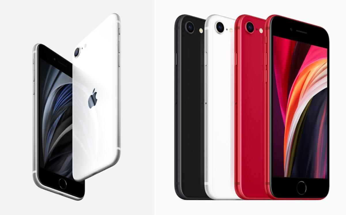 iPhone SE 20 vu de face et de dos, en différents coloris (noir, blanc, rouge)