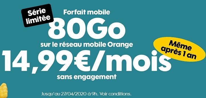 Forfait en promo : Sosh 80 Go à 14,99 euros par mois