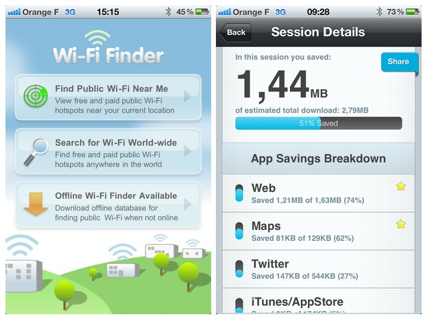 Free Wi-Fi Finder et Onavo