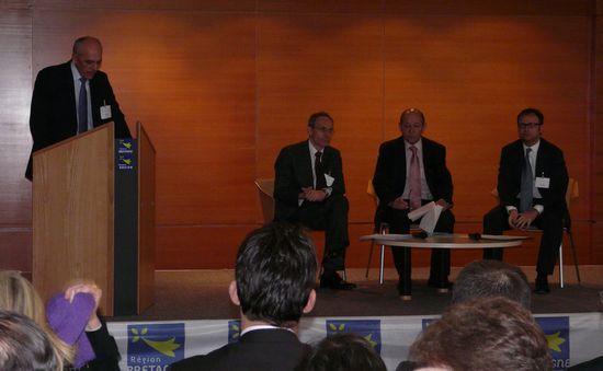 Pierre Barnabé, le PDG d'Alcatel-Lucent France et Thierry Bonhomme, le directeur exécutif de la R&D chez Orange