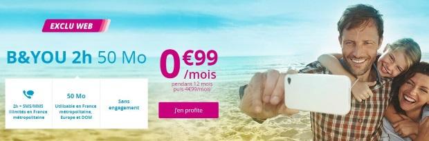 Forfait B&YOU 50Mo à 0.99€ par mois au lieu de 4.99€
