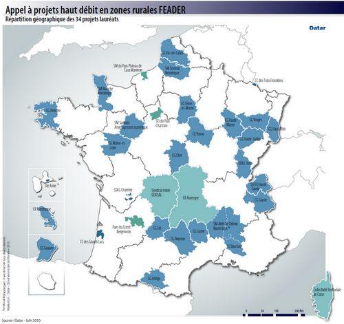Carte des 34 projets haut débit en zones rurales