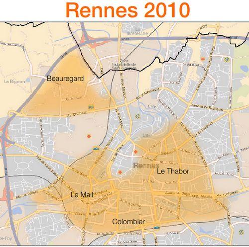 Carte du déploiement FTTH d'Orange à Rennes