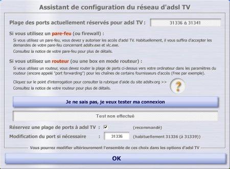 configuration réseau ADSL TV