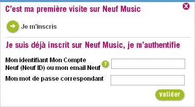 connexion Neuf Music