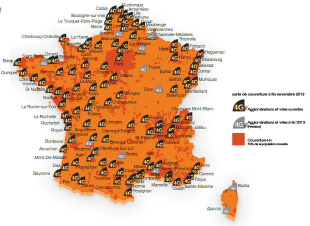 carte de couverture 4G orange decembre 2013