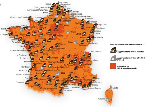 carte de couverture 4G orange decembre 2013