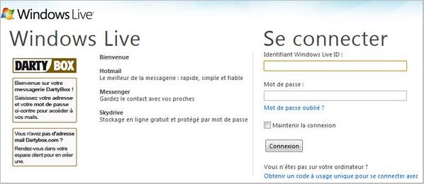 Messagerie Dartybox Hotmail