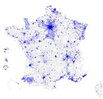 carte du degroupage en France au 30 septembre 2008