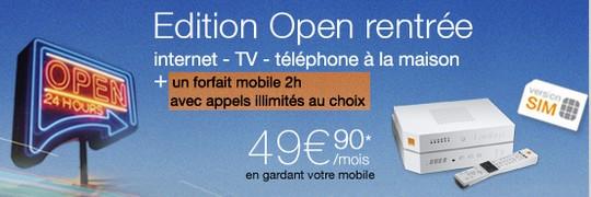 Edition Open Rentrée à partir de 49.90€