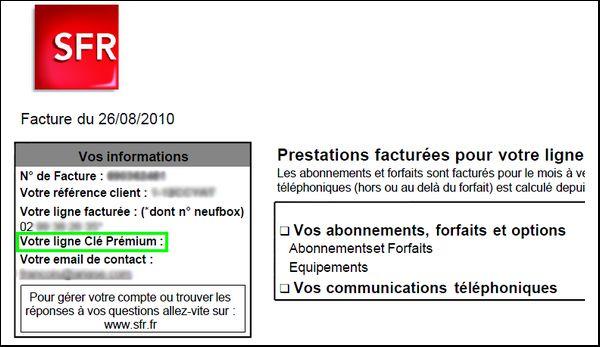 Facture SFR Ligne Clé Premium