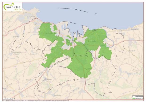 Carte de la fibre optique de SFR à Cherbourg