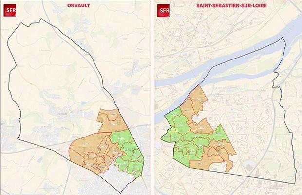 carte FTTH SFR d'Orvault et Saint Sebastien sur Loire
