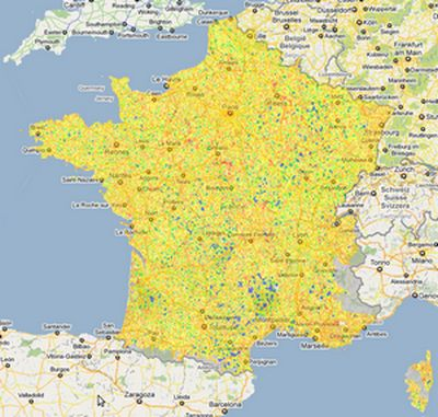 carte de France de la couverture ADSL