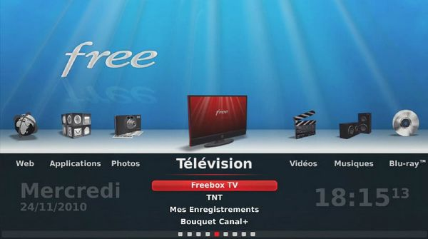 Interface TV de la Freebox Player