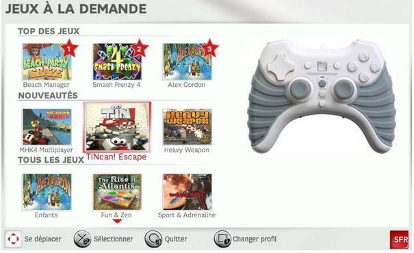 Jeux à la demande Neufbox de SFR