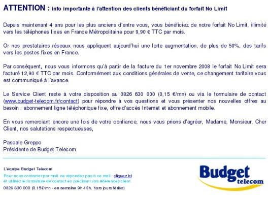 Hausse du forfait No Limit de Budget Telecom
