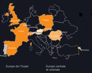 la présence du groupe orange en europe