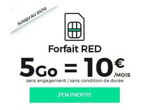 RED by SFR 5 Go à 10 euros jusqu'au 3 octobre