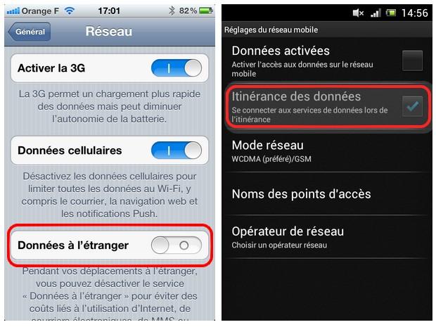 Données à l'étranger sur iPhone et Android