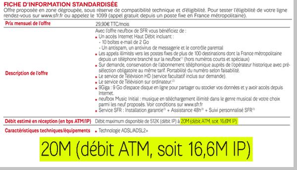 Débit SFR 20Mbits