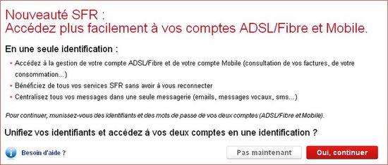 procédure d'unification des comptes ADSL et Mobile SFR