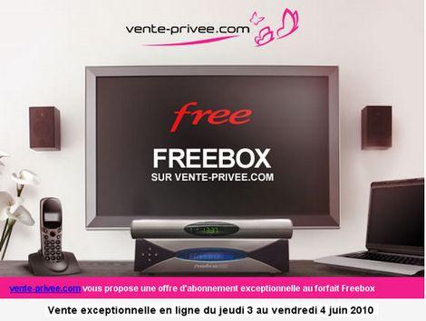 le site vente-privee.com proposera une offre d'abonnement exceptionnelle au forfait Freebox