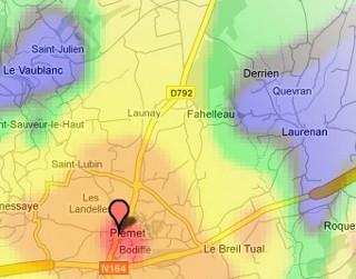 Zone blanche inéligible à l'ADSL à Laurenan (22)