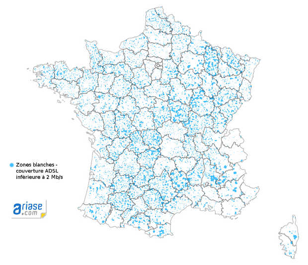 carte des zones blanches en France