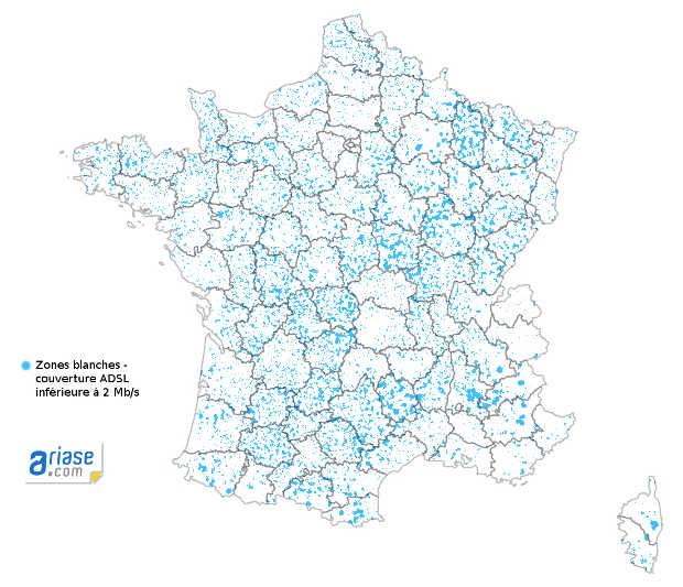 carte des zones blanches en France