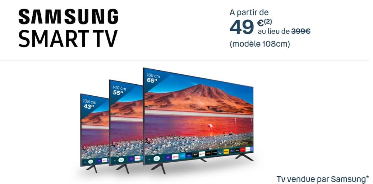 Les Smart TV Samsung à partir de 49 euros avec l'offre Bbox Smart TV