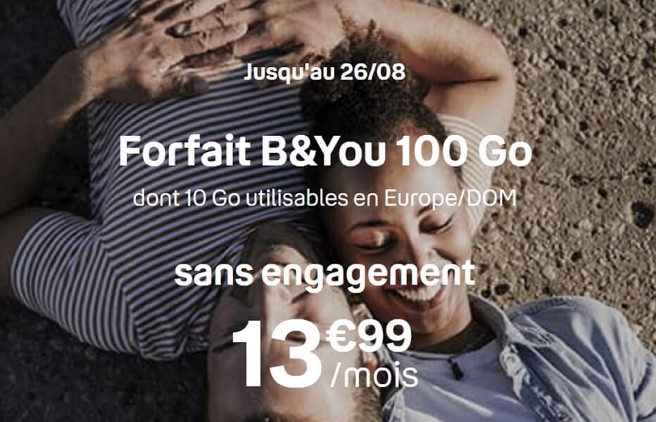 Forfait en promotion Bouygues Télécom : 100 Go à 13,99 euros par mois