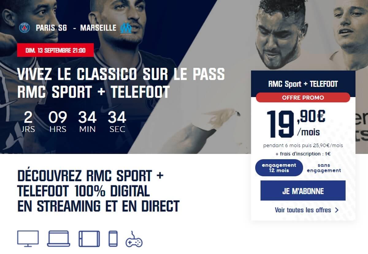 PSG-OM en streaming : promo Téléfoot + RMC Sport