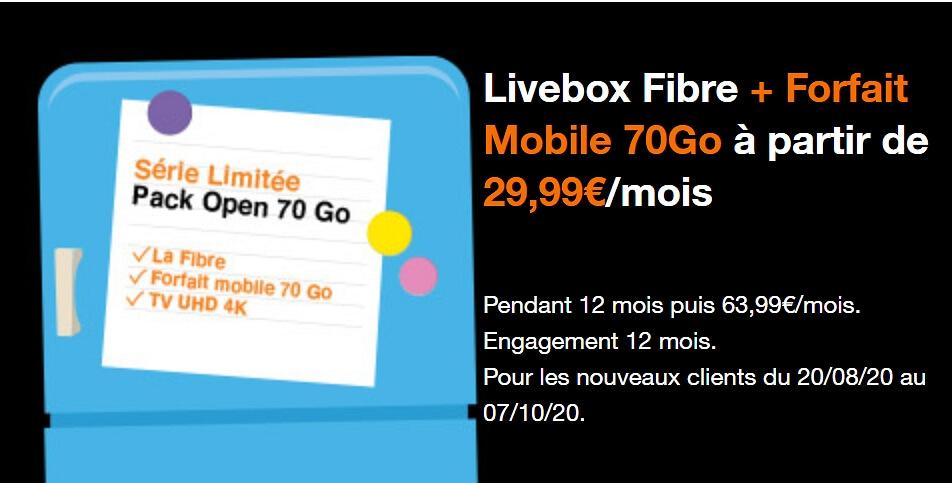 Série limitée Orange Open 70 Go à 29,99 euros par mois